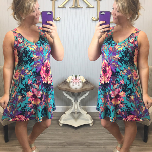 HM Bright Teal Painted Floral Dress
