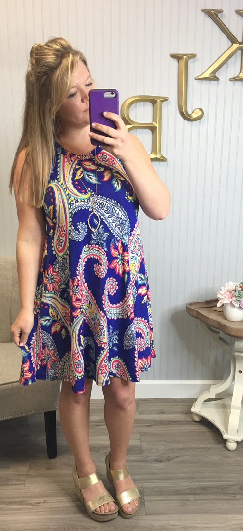 Royal Paisley Halter Dress