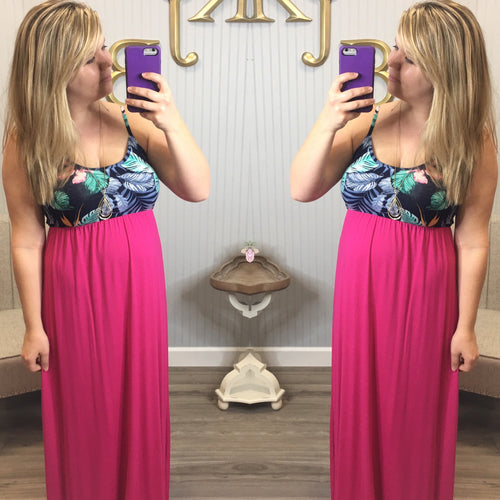 Fuchsia Tropical Top Maxi