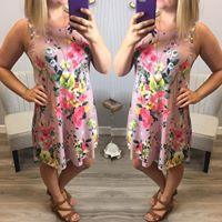 Mauve Floral Swing Dress