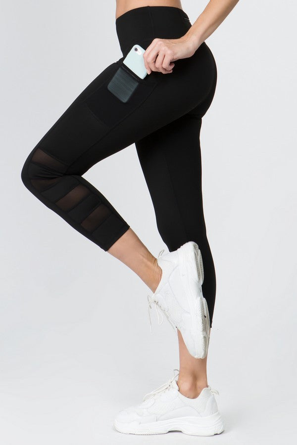 Mesh Side Stripe Workout Leggings
