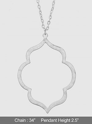 Brushed Ornate Drop Pendant Necklace