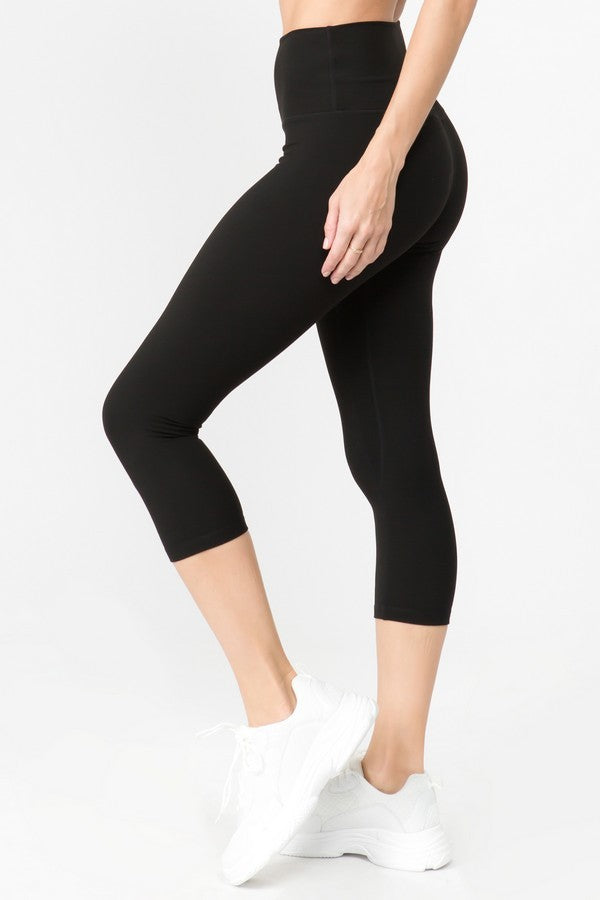 Black Buttery Soft Capri Workout Leggings