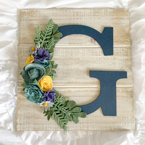 Felt Flower Wood Letter Sign