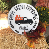 Farm Fresh Pumpkins Round Sign