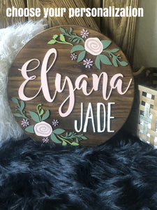 "18"" Floral Flourish Nursery Sign"