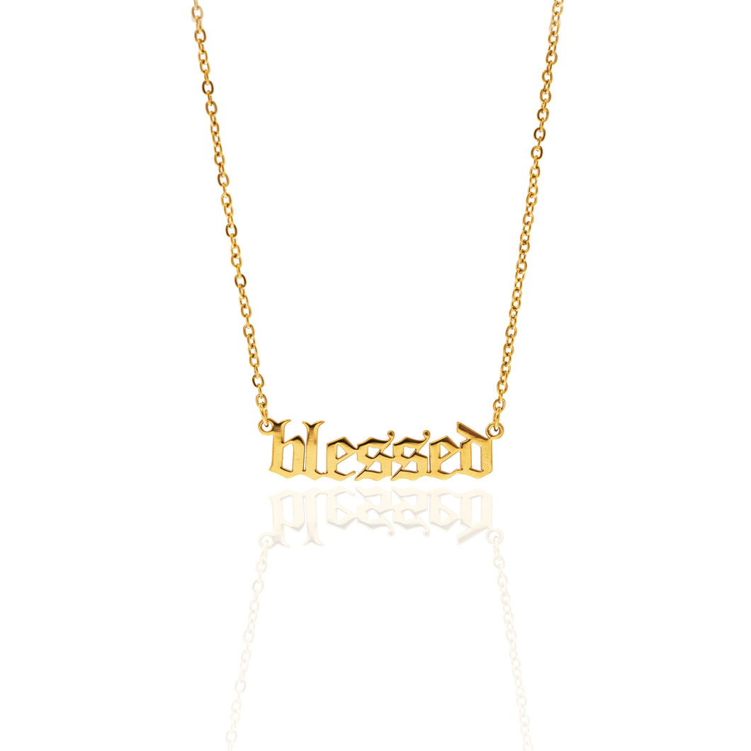 Gold Plated Blessed Statement Necklace