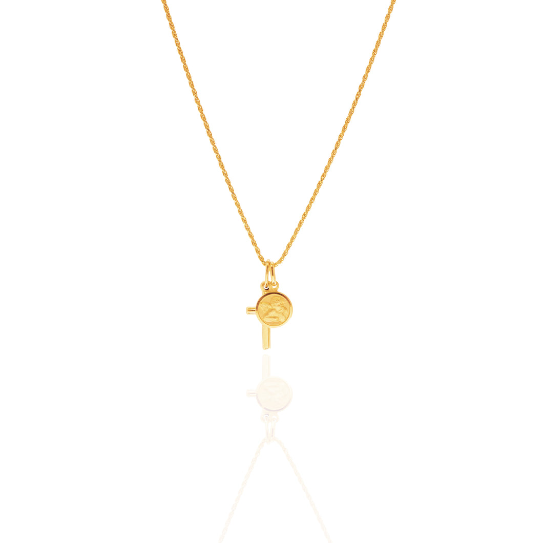 Cupid's Cross Gold Pendant Religious Necklace