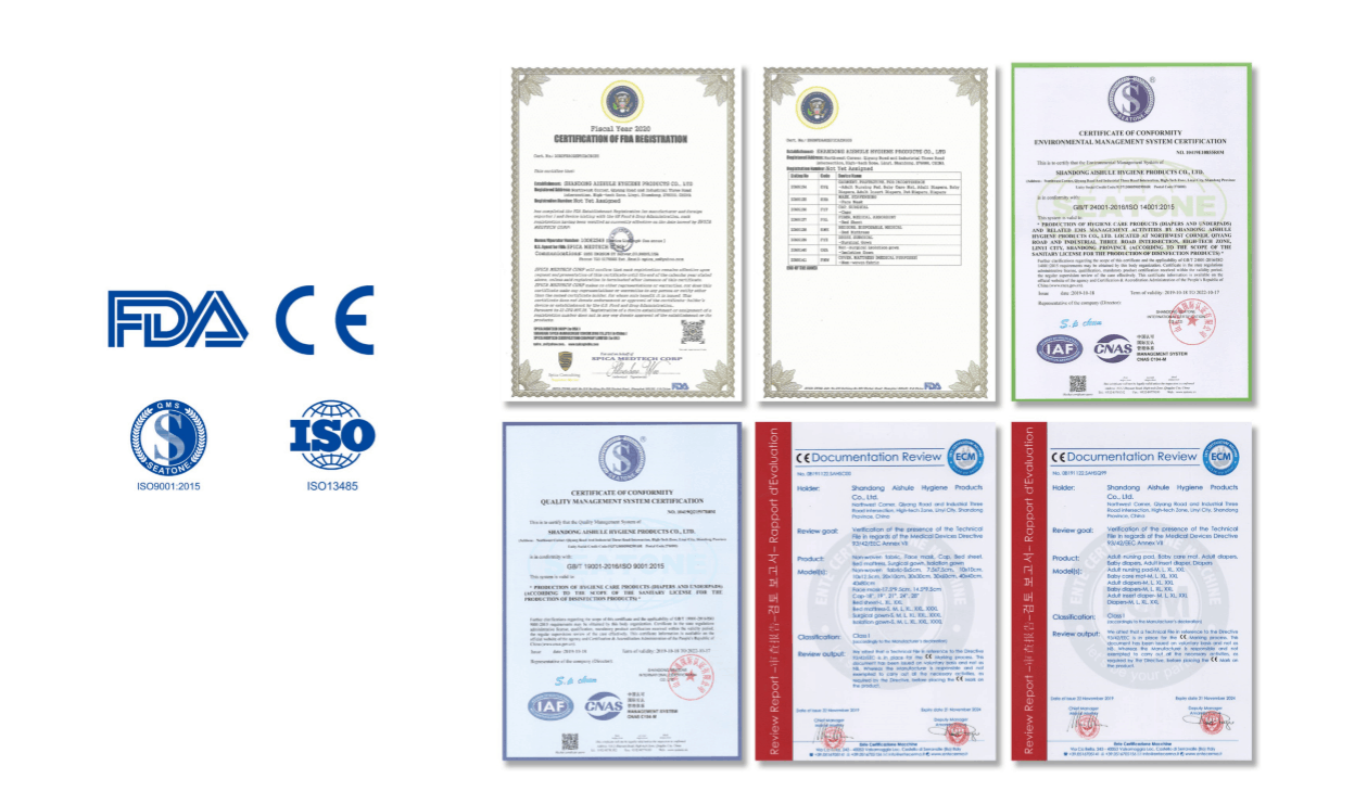 Nitrile inspection gloves, Non-sterile latex gloves, Medical Anti Fog Goggles, Surgical mask, KN 95 mask, Disposable surgical cap, Face shield, Insulation Hazmat suits certifications American Food and Drug Administration (FDA), CE and ISO