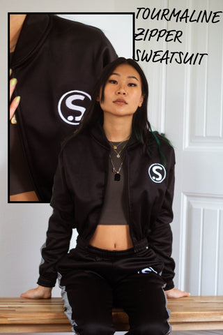 Black Tourmaline Crop Top Sweatsuit
