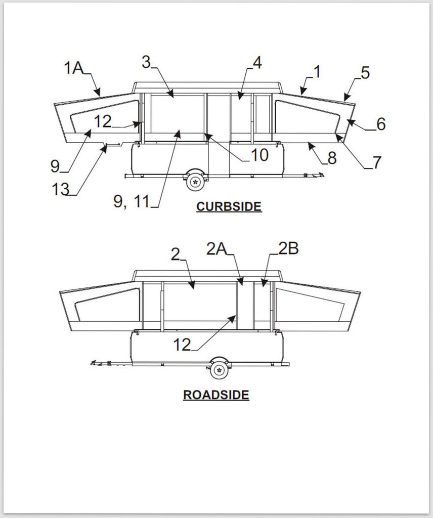 Coleman Pop Up Parts Diagram Trusted Schematics 1993 Camper Wiring Canvas Bed Boot 2006 Scorpion Jayco Roof Seal