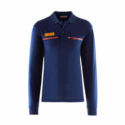 Foil Long Sleeve Polo - Navy