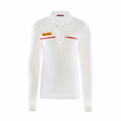 Foil Long Sleeve Polo - White