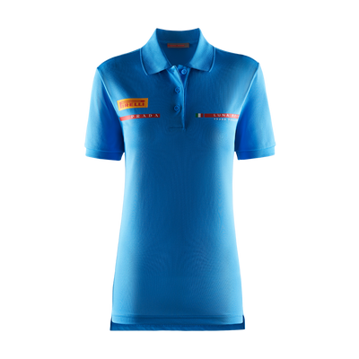 Women's Foil Polo Shirt - Sky Blue