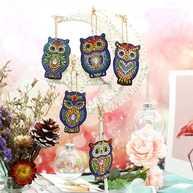 46 - 4pk Owl Key Chains