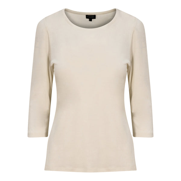 3/4 SLEEVE SCOOP NECK IN WHITE