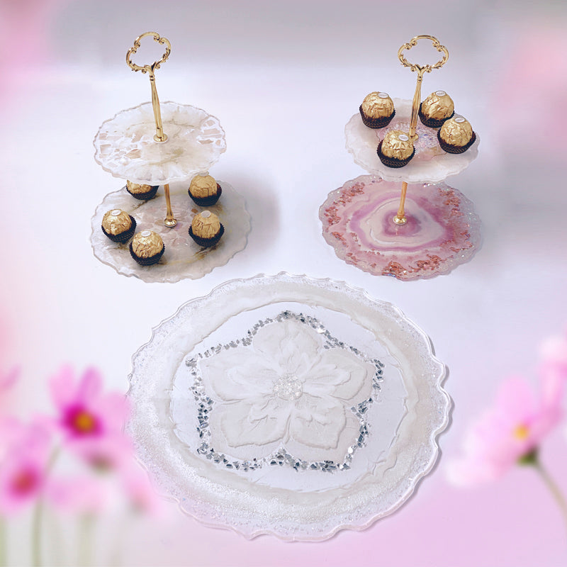 2 Tiered Serving Stands & Round Serving Platter