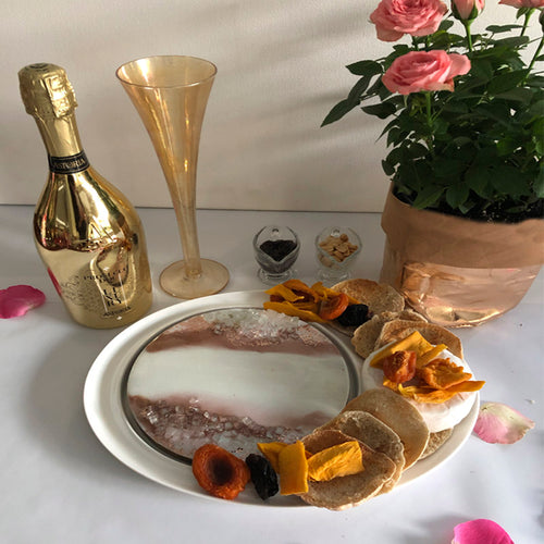 Ceramic Serving Plate White Gold and Rose Gold Hues