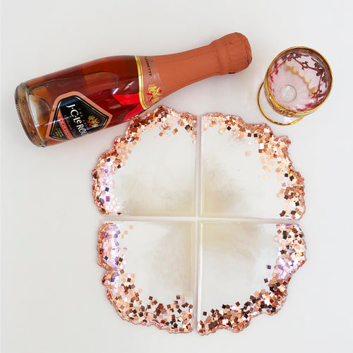 Agate 4 Piece Rose Gold Colossal Glitter 4 Piece Set