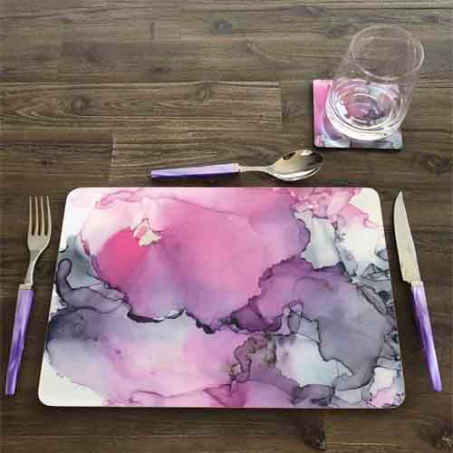 Wooden Fantasy Rectangle Place Mat & or Square Coaster 5 – Grey with a touch of DeepPink