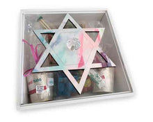 Load image into Gallery viewer, Wooden Magen David Square Yamulke Box With Perspex Lid
