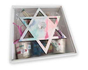 Wooden Magen David Square Yamulke Box With Perspex Lid