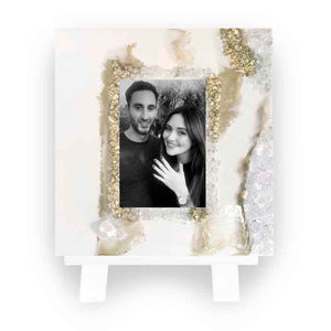 Gold & White Geode Wooden Picture Frame Including Stand