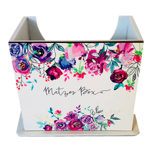 Matzos Wooden Purple Flowers Stand Up Box