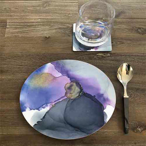 Melamine Fantasy Round Tray 10 – Grey with a touch of PURPLE