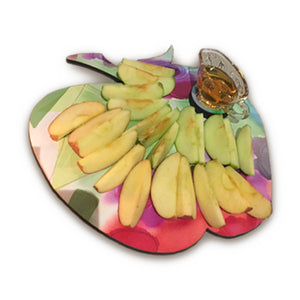 Rosh Hashanah Wooden Apple Server With Glass Jar