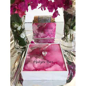 """Work Of Heart""  – Sweet Pink Flat Matzos Box With Lid"