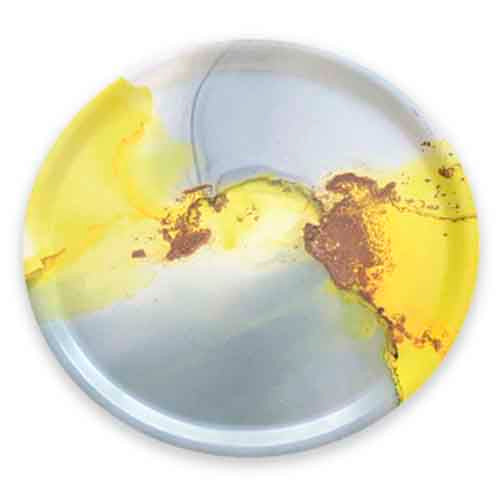 Melamine Fantasy Round Tray 1 - Grey with a touch of YELLOW