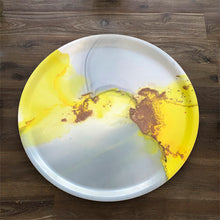 Load image into Gallery viewer, Melamine Fantasy Round Tray 1 - Grey with a touch of YELLOW