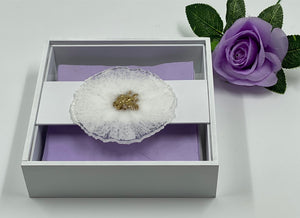 Serviette / Napkin Wooden Box decorated with Resin Glitter Flower