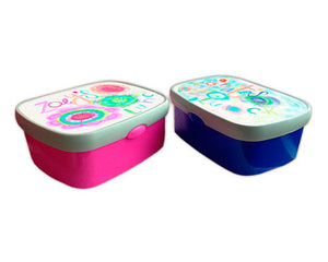 His Or Hers Lunch Boxes Personalised With Artzcafe Designer Art