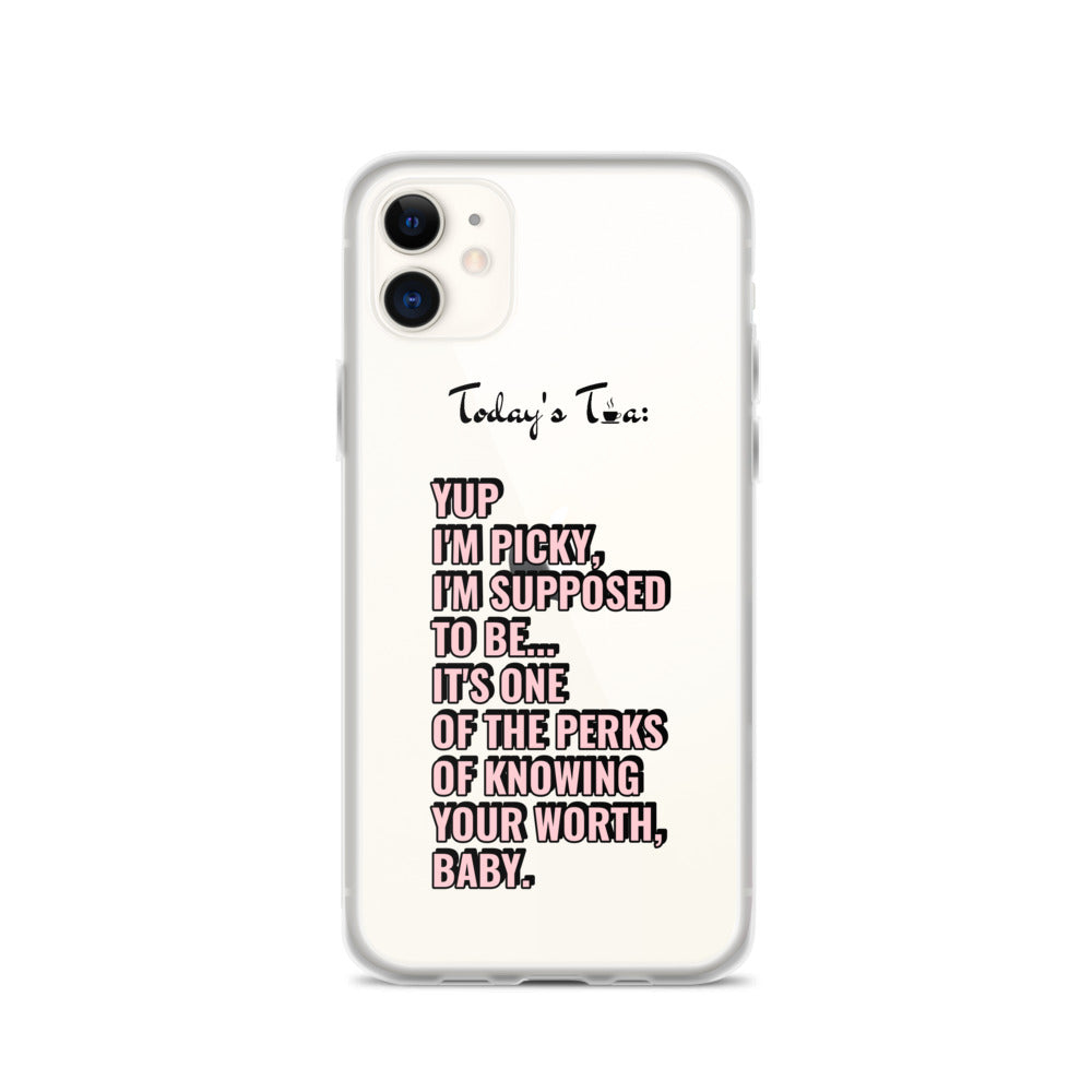 PICKY AND PROUD TEA: Clear iPhone Case