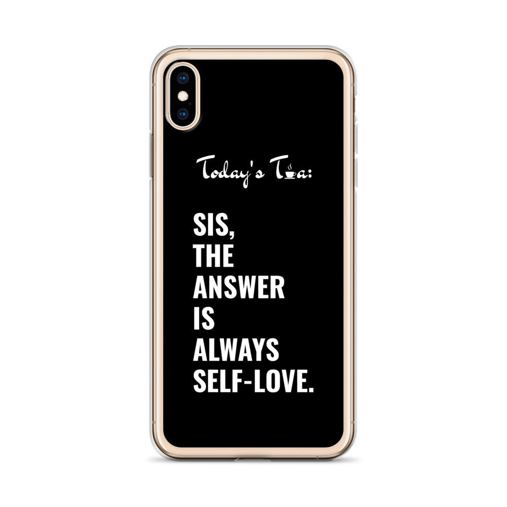 SELF-LOVE TEA: Black iPhone Case