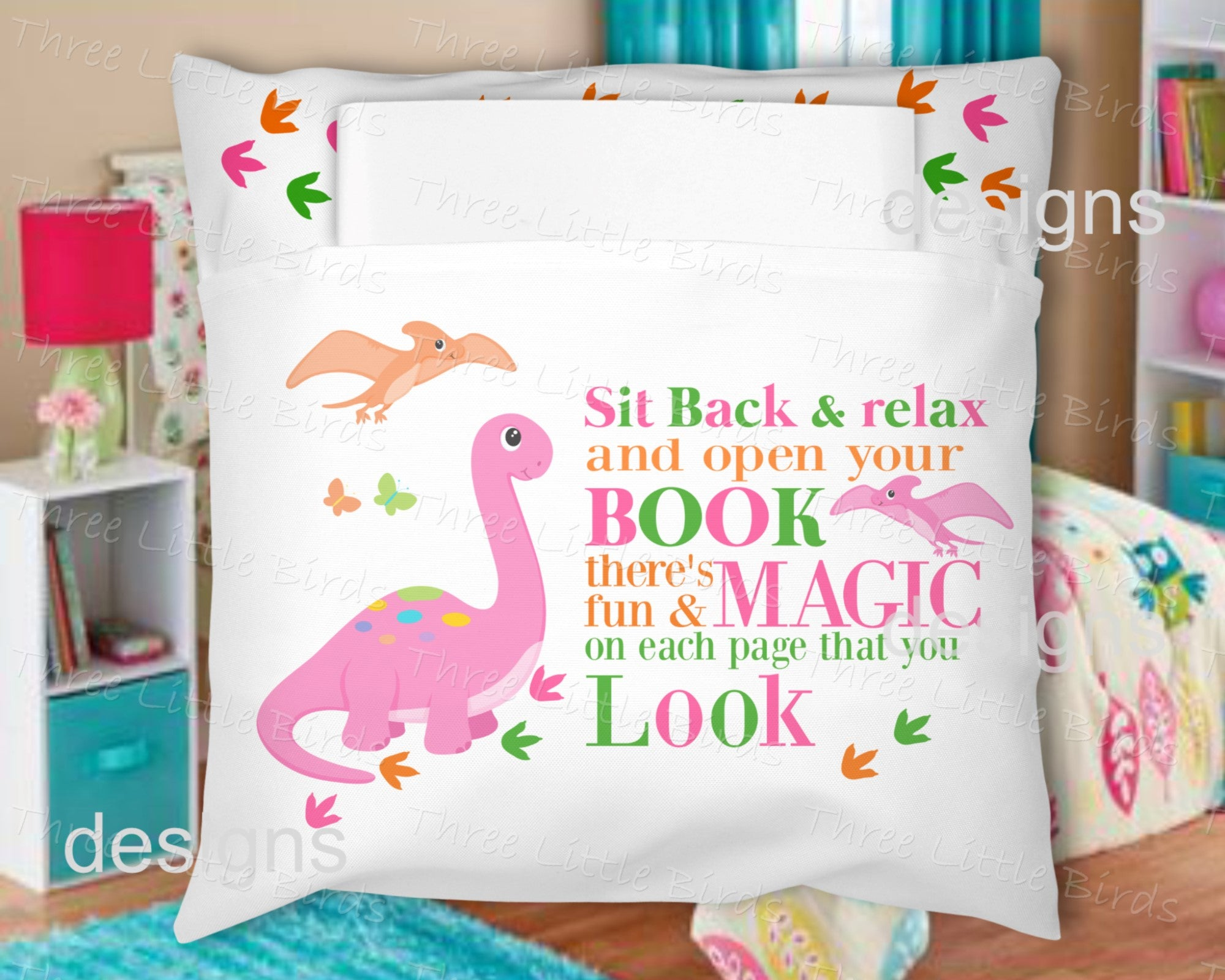 Book Pillow - Pink Dinosaur