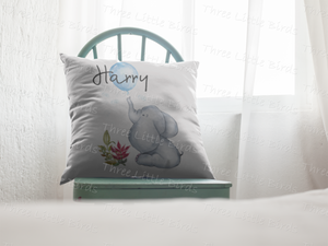 Personalised Boy Elephant Cushion Cover