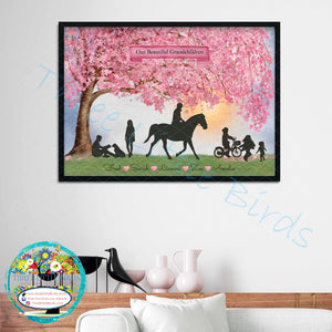 Stunning Sweeping Blossom Silhouette Family/Friends Design - A3 Print