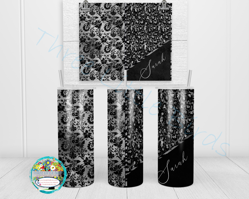 Silver and Black Leopard Damask Design - Double Walled Vacuum Insulated Tumbler - 20oz