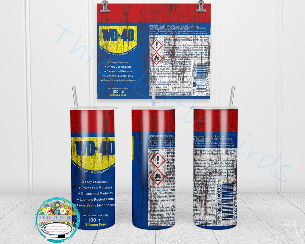 WD40 Inspired Design - Double Walled Vacuum Insulated Tumbler - 20oz