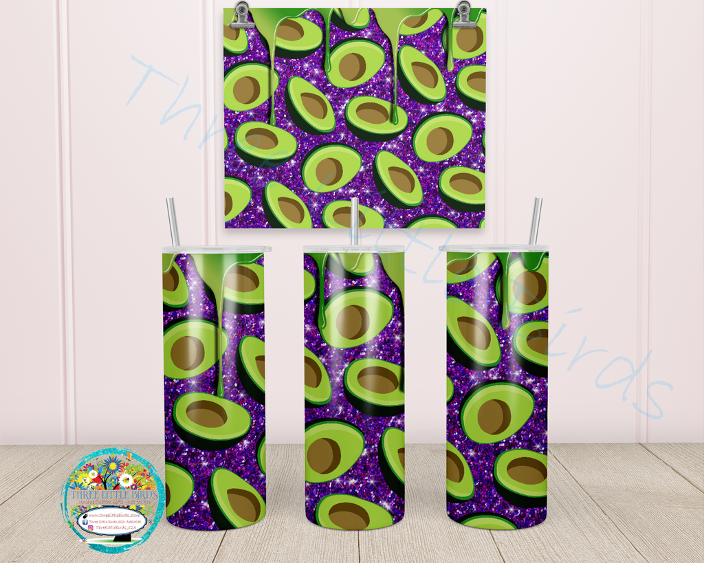 Avocado and Glitter Design -  Choice of 4 Colours - Double Walled Vacuum Insulated Tumbler - 20oz