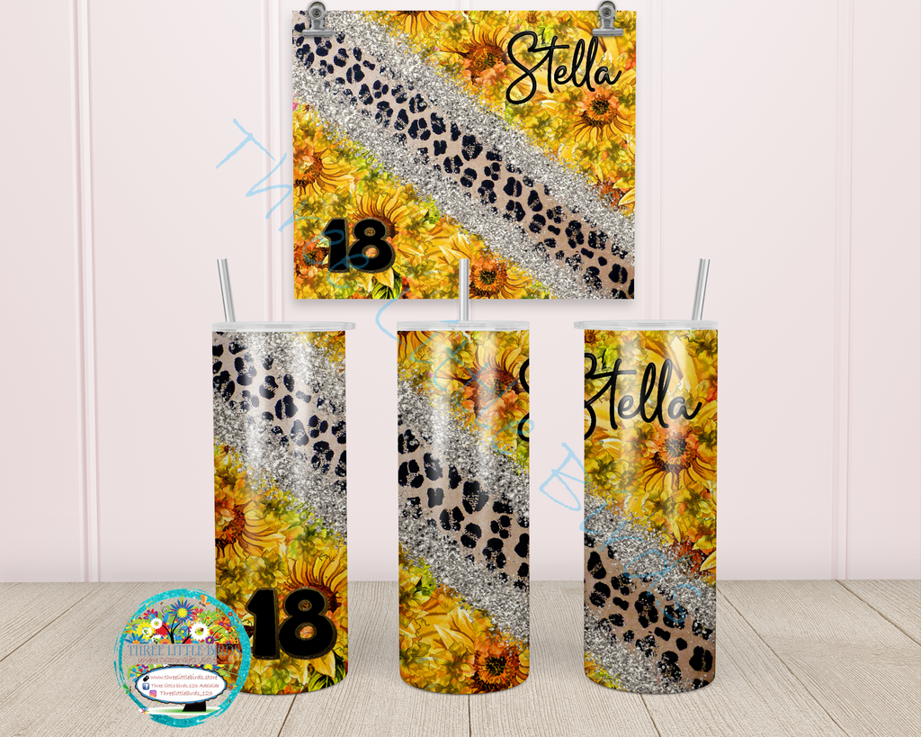 Birthday Sunflower & Leopard Skin Design - Double Walled Vacuum Insulated Tumbler - 20oz