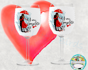 You Complete Me - Wine Glass Huggers/Matching Wine Bottle Tote