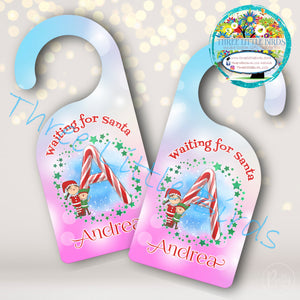 Personalised Christmas Candy Cane Door Hangers - Silver, Pink or Blue