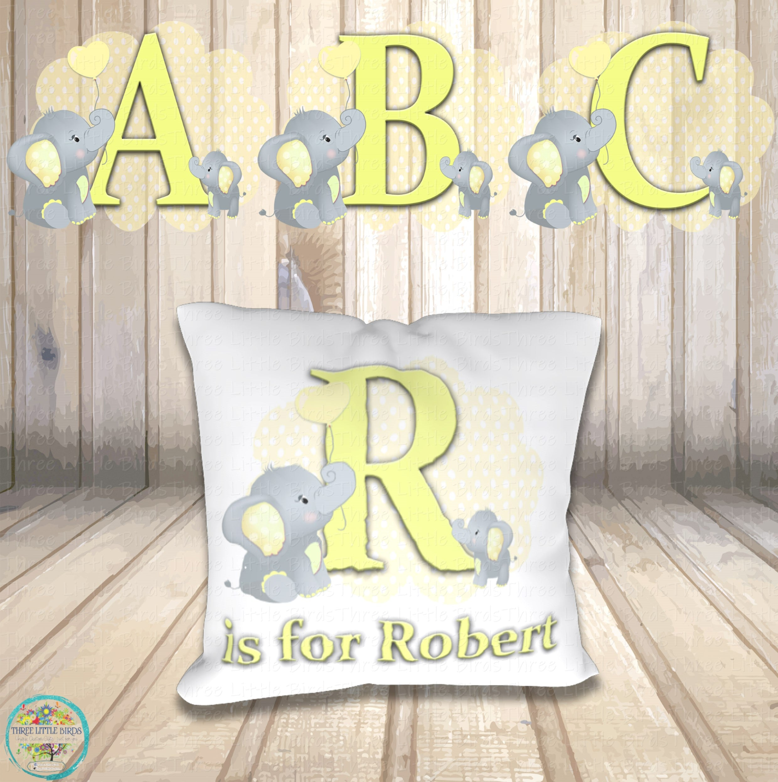 Cute Elephant Initial Cushions - 4 Colour Options