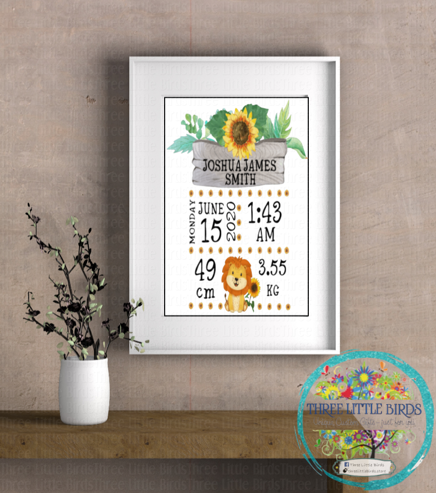 A4 Mounted Print - Sunflower Birth Statistics