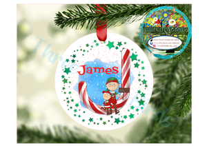 Personalised Ceramic Christmas Candy Cane Tree Decoration