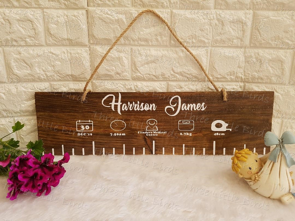 Birth Statistics Wooden Plaque